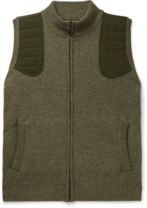 JAMES PURDEY & SONS Faux Suede-Trimmed Melange Merino Wool Gilet - Men - Green