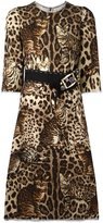 Dolce & Gabbana leopard print embellished dress - women - Polyamide/Wool - 44