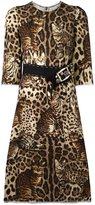 Dolce & Gabbana leopard print embellished dress - women - Polyamide/Wool - 46