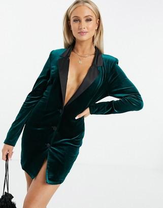 ASOS DESIGN jersey longline tux blazer in dark green velvet