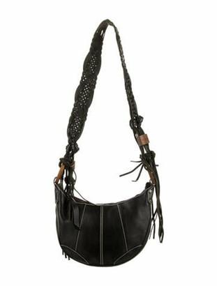 Dolce & Gabbana Leather Fringe Crossbody Bag Black