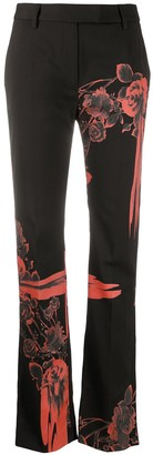 Just Cavalli Blooms-Print Straight-Leg Trousers