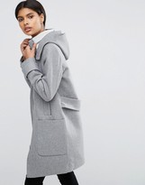 Asos Wool Blend Coat with Tipped Rib and Funnel Neck