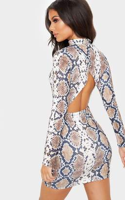 PrettyLittleThing Tan Snake Print Long Sleeve High Neck Cut Out Bodycon Dress