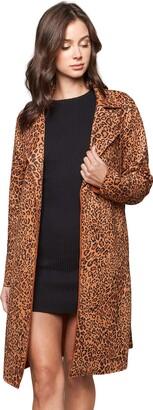 Sugar Lips Sugarlips Women's Untamed Leopard Print Suede Trench Coat