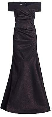Teri Jon by Rickie Freeman Women's Stretch Metallic Off-the-Shoulder Gown