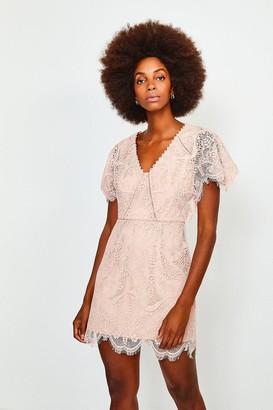 Karen Millen Fluted Sleeve Lace Dress