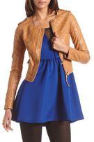 Charlotte Russe Quilted Shoulder PU Jacket