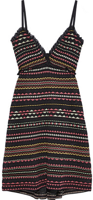 M Missoni Ruffle-trimmed Striped Crochet-knit Dress