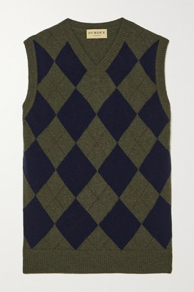JAMES PURDEY & SONS Argyle Cashmere Tank - Navy