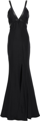 Zac Posen Faux Leather-trimmed Stretch-crepe Gown
