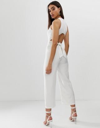 Fashion Union wide leg jumpsuit with cut out back