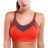La Isla Women's High impact Power Mesh Wire Free Molded Cup X-back Sports Bra