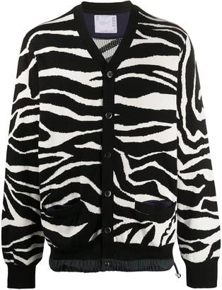 Sacai V-neck zebra print cardigan