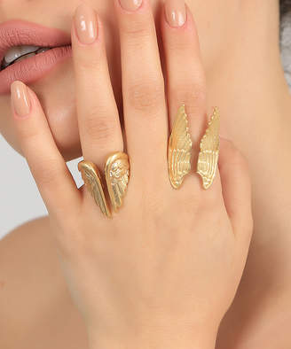 Yu & Shi Women's Rings GOLD - 18k Gold-Plated Angel Wings Two-Piece Ring Set