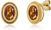 Gem Stone King 1.40 Ct Oval Shape Madeira Citrine Gold Plated Silver Stud Earrings