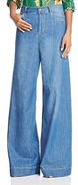 Alice + Olivia Clarissa Wide-Leg Side-Slit Jeans in Vintage Wash