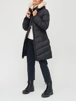 Thumbnail for your product : Very Waist Detail Padded Coat With Faux Fur - Black