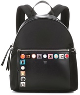 Fendi Studded leather and canvas backpack