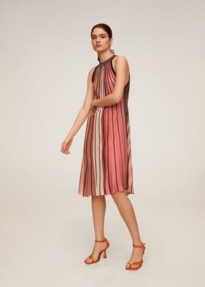 MANGO Striped jersey dress pink - 6 - Women