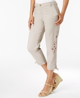 Style&Co. Style & Co Style & Co Petite Embroidered Ruched Capri Pants, Created for Macy's