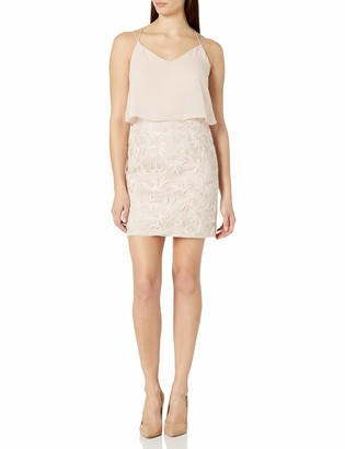 Aidan Mattox Aidan Women's Chiffon Popover Top Cocktail Dress with Embroidered Feather Motif Skirt