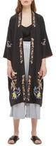 Topshop Women's Reversible Embroidered Kimono