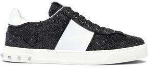 Valentino Garavani Rockstud Patent-trimmed Glittered Striped Leather Sneakers