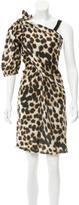 David Szeto Leopard Print Silk Dress