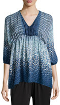 Romeo & Juliet Couture Geometric-Print V-Neck Blouse, Blue/Multi