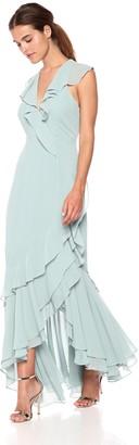 C/Meo Women's BE About You Sleeveless V Neck Ruffle Hem Maxi Dress