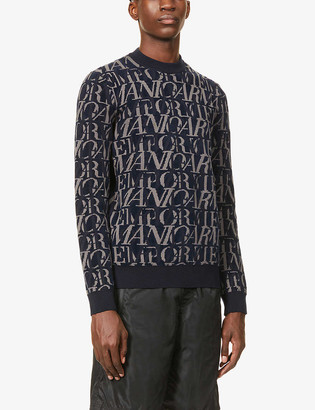 Emporio Armani All-over text wool-blend knit jumper