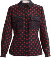 Mary Katrantzou Patch-pocket polka-dot silk shirt