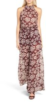 Band of Gypsies Women's Floral Print Chiffon Jumpsuit