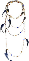 Erickson Beamon Tiered bead and feather necklace