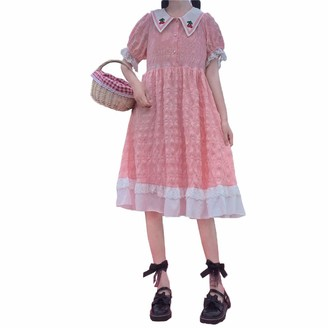 Heigirton Lolita Dresses Sweet Japanese Style Cherry Graphic Short Sleeve Baby Collar Knee Long for Women (Pink)