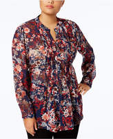 Style&Co. Style & Co Plus Size Printed Pintuck Blouse, Created for Macy's