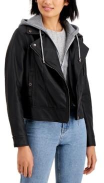 Joujou Jou Jou Juniors' Hoodie Faux-Leather Moto Jacket