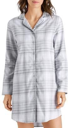 Hanro Edda Plaid Cotton Flannel Long-Sleeve Sleepshirt