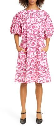 Merlette New York Floral Print Puff Sleeve Cotton Shift Dress