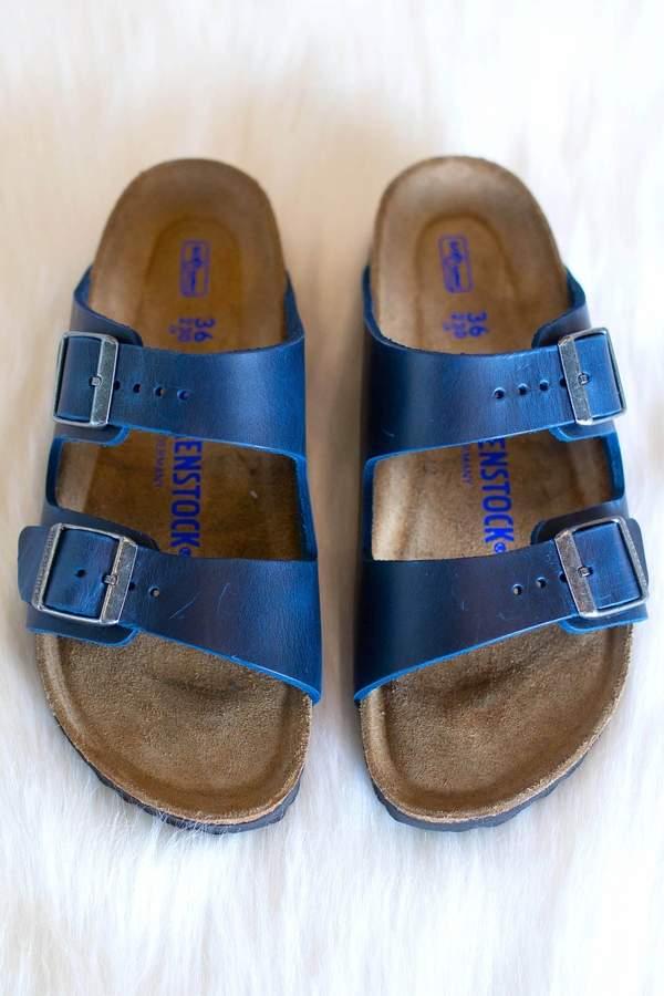 deac7ef45455 Birkenstock Blue Leather Footbed Women's Sandals - ShopStyle