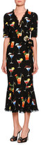 Dolce & Gabbana Cocktail-Print Short-Sleeve V-Neck Dress, Black Pattern