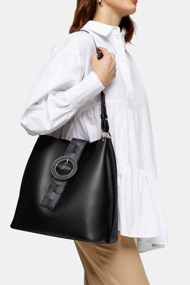 Topshop Womens Winni Black Woven Tab Hobo Bag - Black