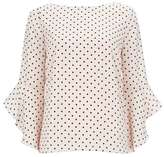 Wallis Blush Polka Dot Flute Sleeve Top