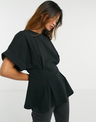 Selected t-shirt with fitted waist in black