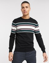 Threadbare organic cotton stripe knitted jumper in black