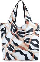 Roberto Cavalli Tiger-Print Leather Shopper Tote Bag