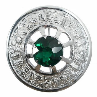 The Scotland Kilt Company New Made in Scotland Thistle Design Plaid Brooch - Green Stone - Chrome Finish