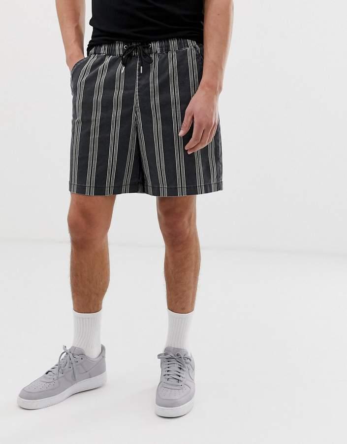 98819b31ed Design DESIGN slim shorts in washed black & ecru stripe
