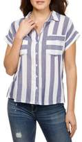 Lucky Brand Striped Button-Front Cotton Tee